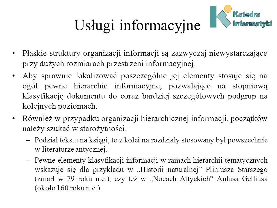 Usługi informacyjne Płaskie struktury organizacji informacji są zazwyczaj niewystarczające przy dużych rozmiarach przestrzeni informacyjnej. Aby spraw