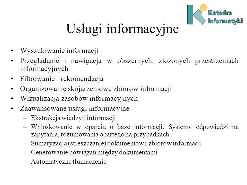 Usługi informacyjne Wyszukiwanie informacji Przeglądanie i nawigacja w obszernych, złożonych przestrzeniach informacyjnych Filtrowanie i rekomendacja