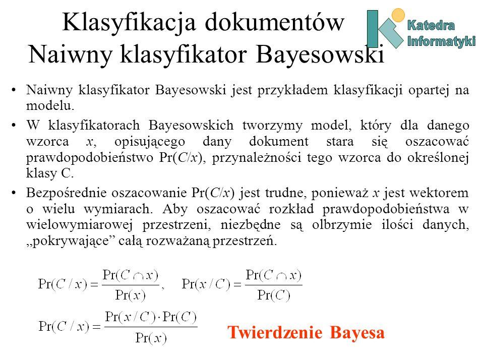 Klasyfikacja dokumentów Naiwny klasyfikator Bayesowski Twierdzenie Bayesa Naiwny klasyfikator Bayesowski jest przykładem klasyfikacji opartej na model