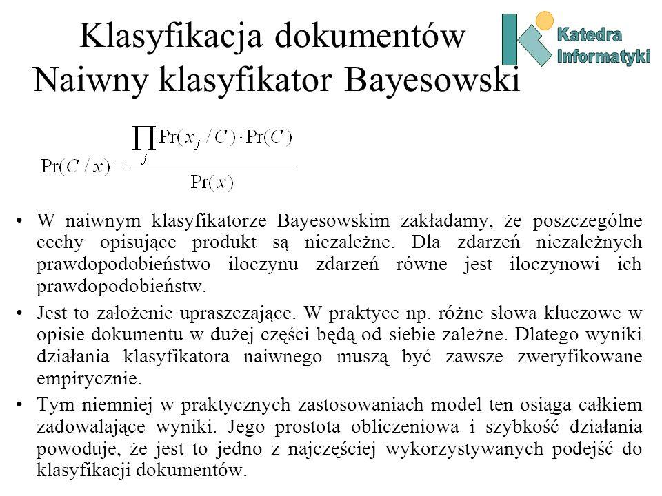 Klasyfikacja dokumentów Naiwny klasyfikator Bayesowski W naiwnym klasyfikatorze Bayesowskim zakładamy, że poszczególne cechy opisujące produkt są niez