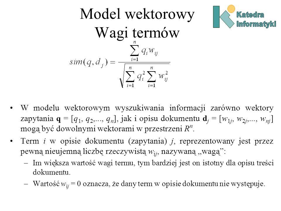 Model wektorowy Wagi termów W modelu wektorowym wyszukiwania informacji zarówno wektory zapytania q = [q 1, q 2,..., q n ], jak i opisu dokumentu d j = [w 1j, w 2j,..., w nj ] mogą być dowolnymi wektorami w przestrzeni R n.