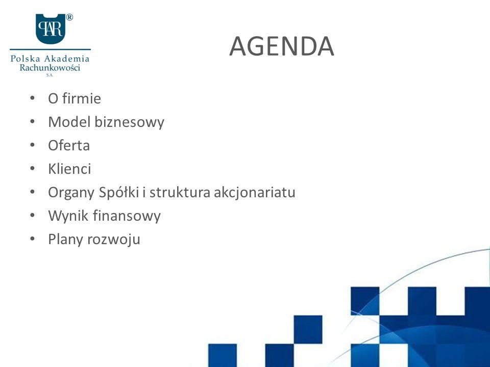 AGENDA O firmie Model biznesowy Oferta Klienci Organy Spółki i struktura akcjonariatu Wynik finansowy Plany rozwoju