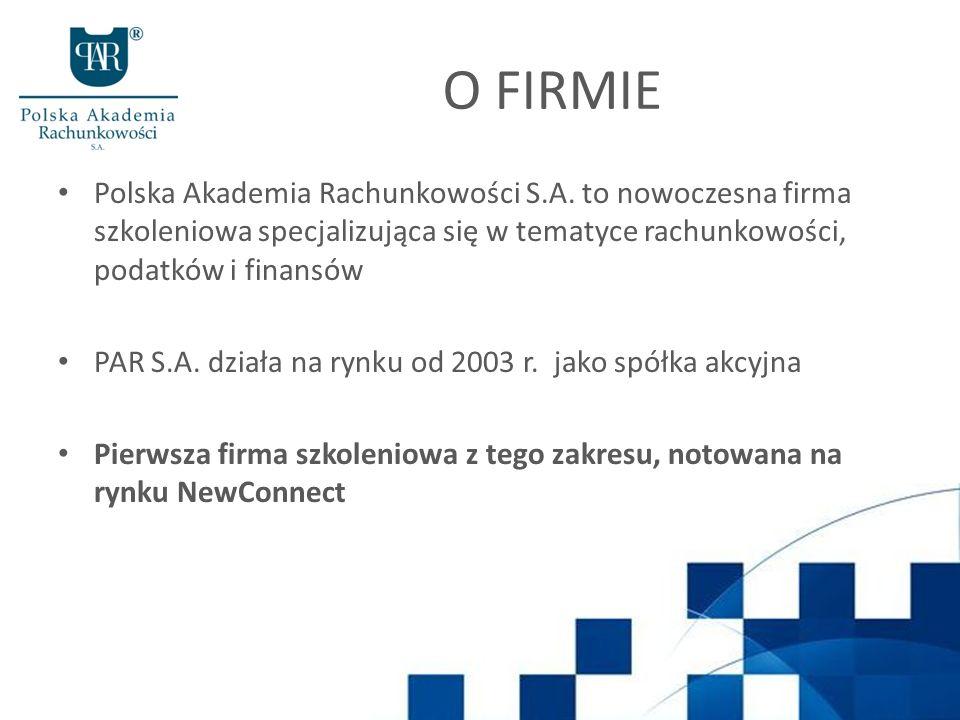 O FIRMIE Polska Akademia Rachunkowości S.A. to nowoczesna firma szkoleniowa specjalizująca się w tematyce rachunkowości, podatków i finansów PAR S.A.