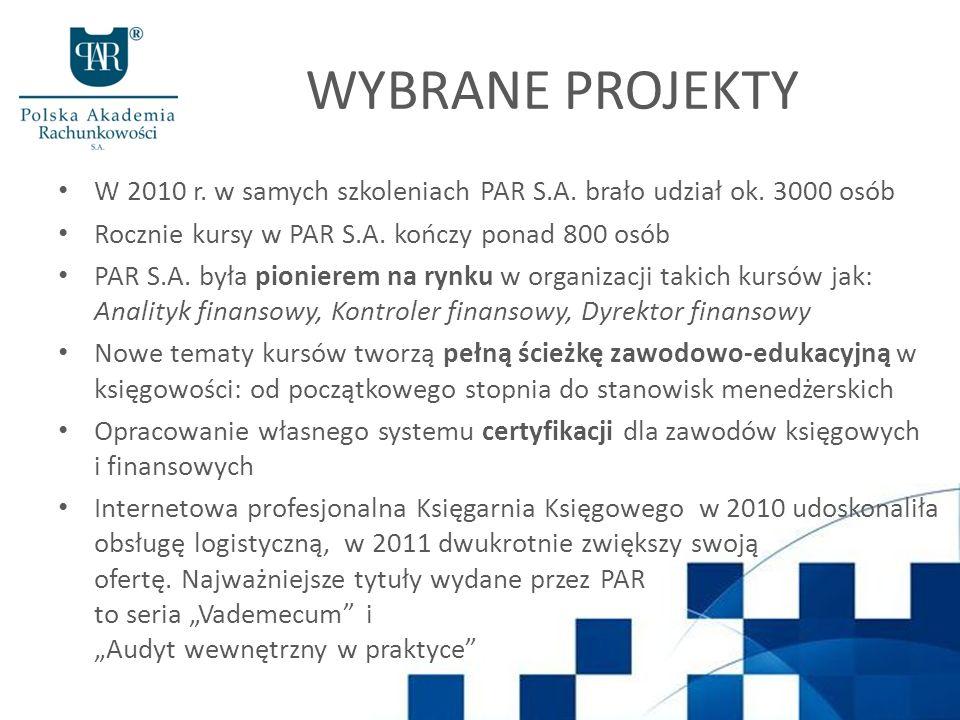 WYBRANE PROJEKTY W 2010 r.w samych szkoleniach PAR S.A.