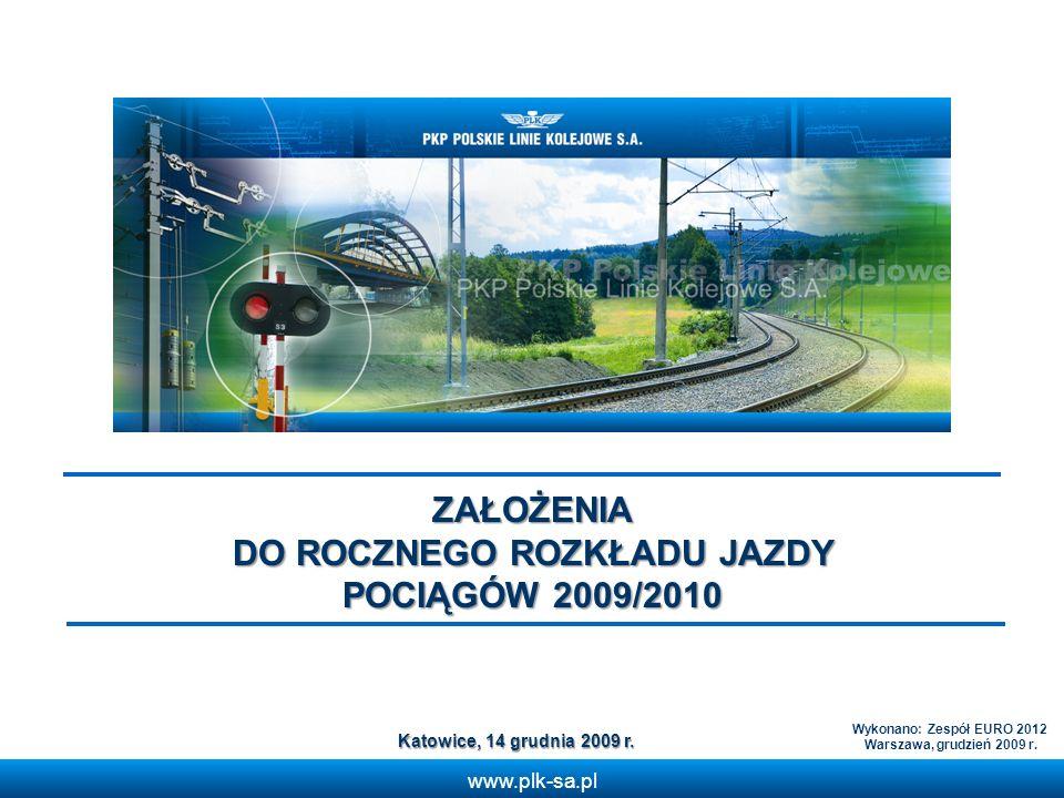 www.plk-sa.pl ZAŁOŻENIA DO ROCZNEGO ROZKŁADU JAZDY POCIĄGÓW 2009/2010 Katowice, 14 grudnia 2009 r. Wykonano: Zespół EURO 2012 Warszawa, grudzień 2009