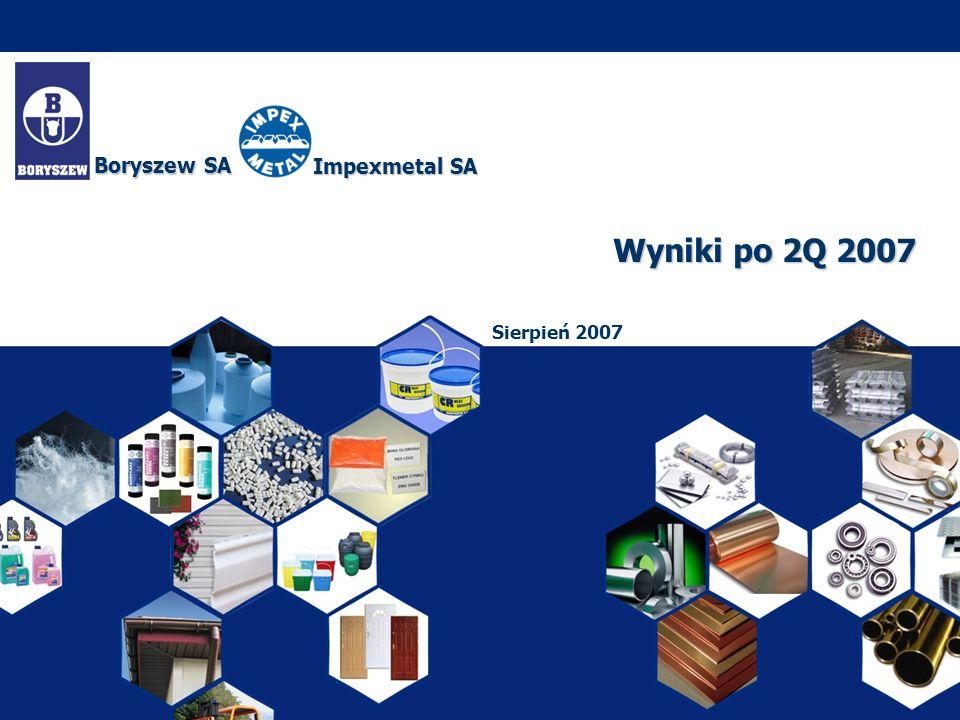 Wyniki po 2Q 2007 Sierpień 2007 Boryszew SA Impexmetal SA