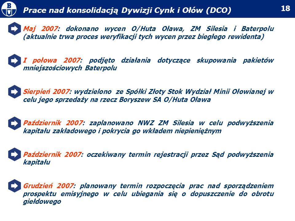 18 Prace nad konsolidacją Dywizji Cynk i Ołów (DCO) Maj 2007: dokonano wycen O/Huta Oława, ZM Silesia i Baterpolu (aktualnie trwa proces weryfikacji t