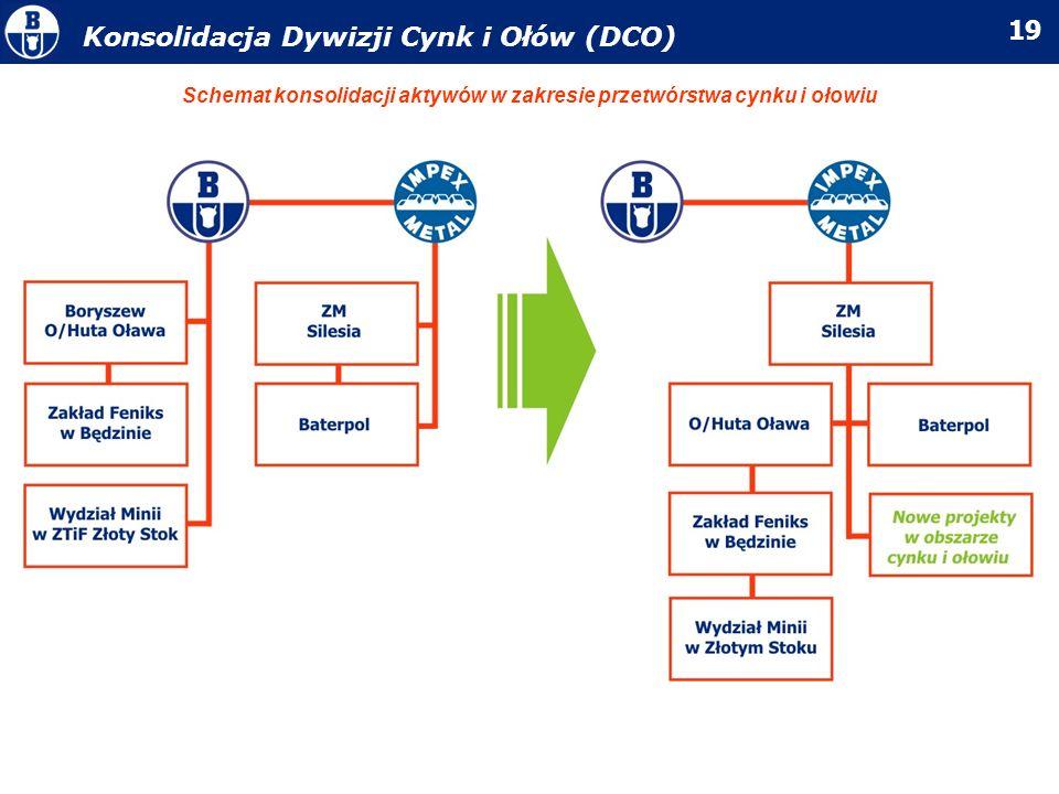 19 Konsolidacja Dywizji Cynk i Ołów (DCO) Schemat konsolidacji aktywów w zakresie przetwórstwa cynku i ołowiu