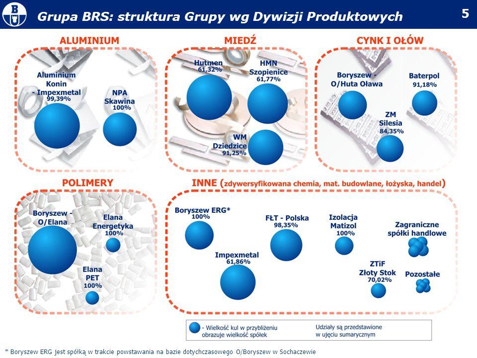 5 Grupa BRS: struktura Grupy wg Dywizji Produktowych * Boryszew ERG jest spółką w trakcie powstawania na bazie dotychczasowego O/Boryszew w Sochaczewi