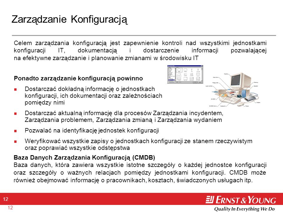 12 Zarządzanie Konfiguracją Celem zarządzania konfiguracją jest zapewnienie kontroli nad wszystkimi jednostkami konfiguracji IT, dokumentacją i dostar