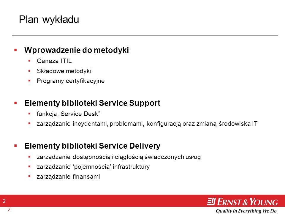 2 2 Plan wykładu Wprowadzenie do metodyki Geneza ITIL Składowe metodyki Programy certyfikacyjne Elementy biblioteki Service Support funkcja Service De