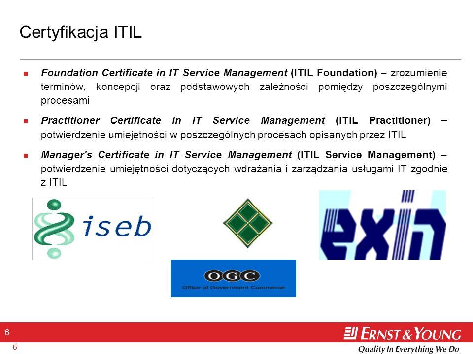 17 Zarządzanie dostępnością Cel: Optymalizowanie zdolności infrastruktury teleinformatycznej i organizacji IT do dostarczania efektywnej kosztowo i nieprzerwanej dostępności do świadczonych przez IT usług, która umożliwi realizację celów biznesowych Klienta zapewnienie, że usługi świadczone są zgodnie z poziomem oczekiwanym przez Klienta określenie zakresu pomiarów i raportowania dla Dostępności, Niezawodności, etc.