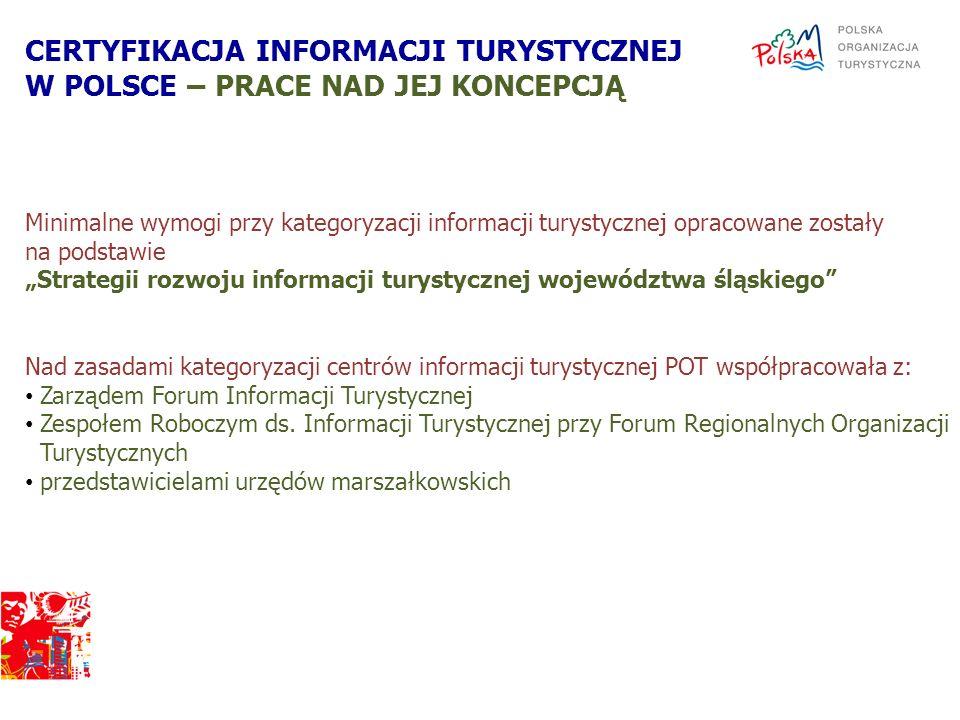 Minimalne wymogi przy kategoryzacji informacji turystycznej opracowane zostały na podstawie Strategii rozwoju informacji turystycznej województwa śląs