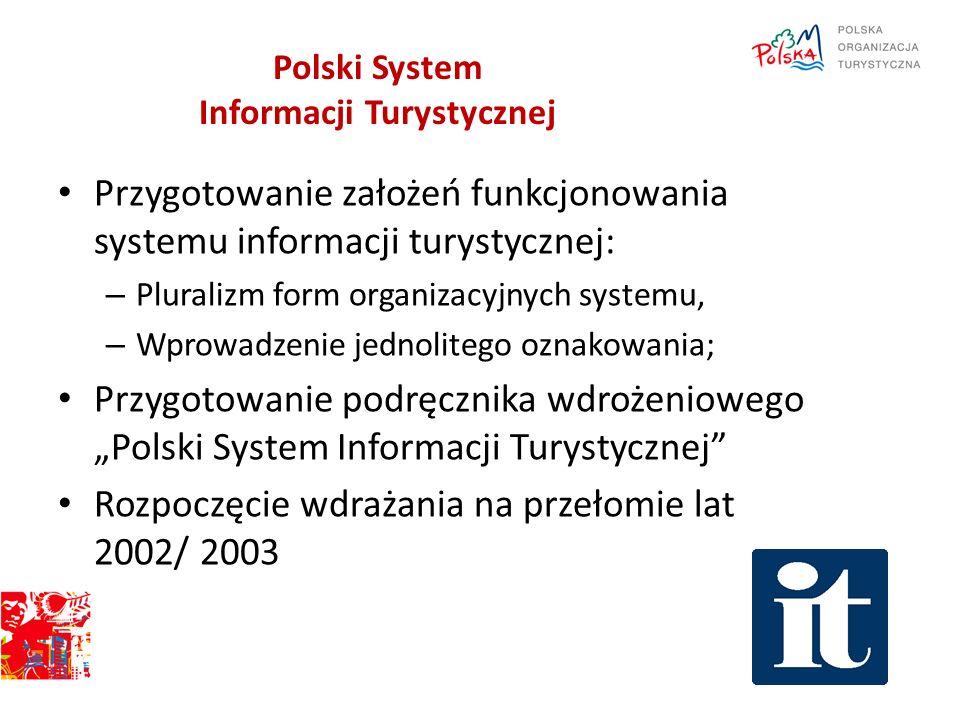 Polski System Informacji Turystycznej Przygotowanie założeń funkcjonowania systemu informacji turystycznej: – Pluralizm form organizacyjnych systemu,