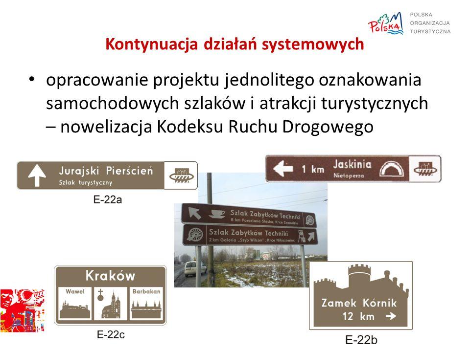 Kontynuacja działań systemowych opracowanie projektu jednolitego oznakowania samochodowych szlaków i atrakcji turystycznych – nowelizacja Kodeksu Ruch