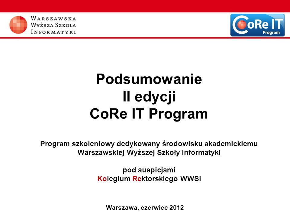 Podsumowanie II edycji CoRe IT Program Program szkoleniowy dedykowany środowisku akademickiemu Warszawskiej Wyższej Szkoły Informatyki pod auspicjami