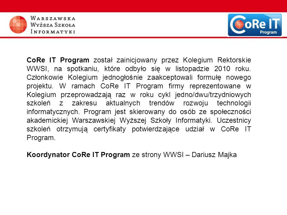 CoRe IT Program został zainicjowany przez Kolegium Rektorskie WWSI, na spotkaniu, które odbyło się w listopadzie 2010 roku. Członkowie Kolegium jednog