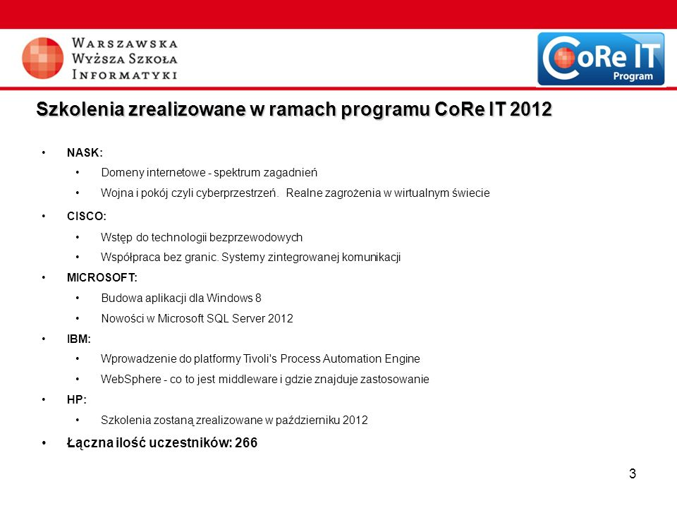 3 Szkolenia zrealizowane w ramach programu CoRe IT 2012 NASK: Domeny internetowe - spektrum zagadnień Wojna i pokój czyli cyberprzestrzeń. Realne zagr