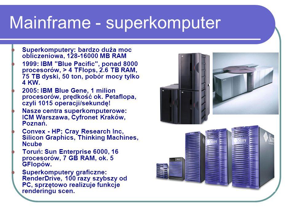 Mainframe - superkomputer Superkomputery: bardzo duża moc obliczeniowa, 128-16000 MB RAM 1999: IBM