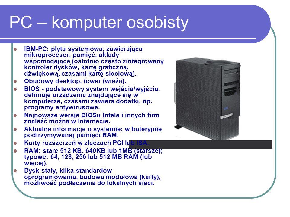 PC – komputer osobisty IBM-PC: płyta systemowa, zawierająca mikroprocesor, pamięć, układy wspomagające (ostatnio często zintegrowany kontroler dysków,