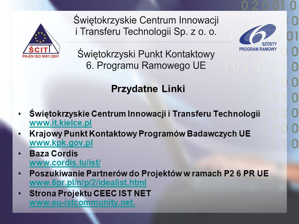 Przydatne Linki Świętokrzyskie Centrum Innowacji i Transferu Technologii www.it.kielce.pl www.it.kielce.pl Krajowy Punkt Kontaktowy Programów Badawczy