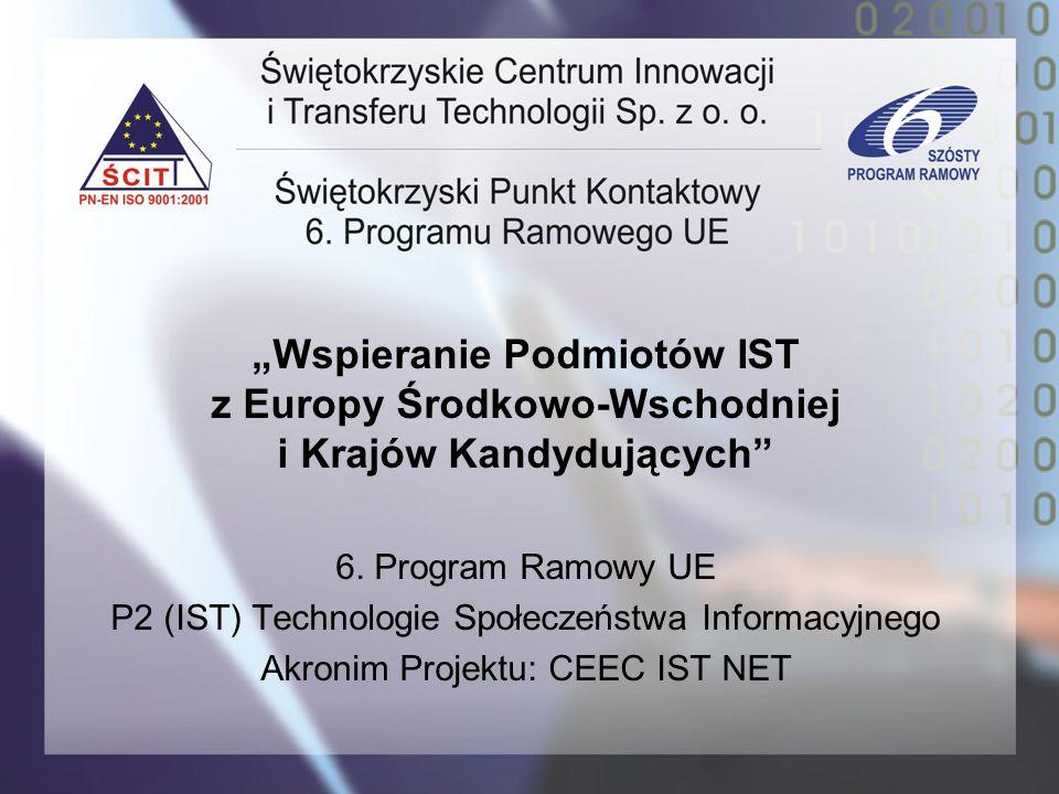 Wspieranie Podmiotów IST z Europy Środkowo-Wschodniej i Krajów Kandydujących 6. Program Ramowy UE P2 (IST) Technologie Społeczeństwa Informacyjnego Ak