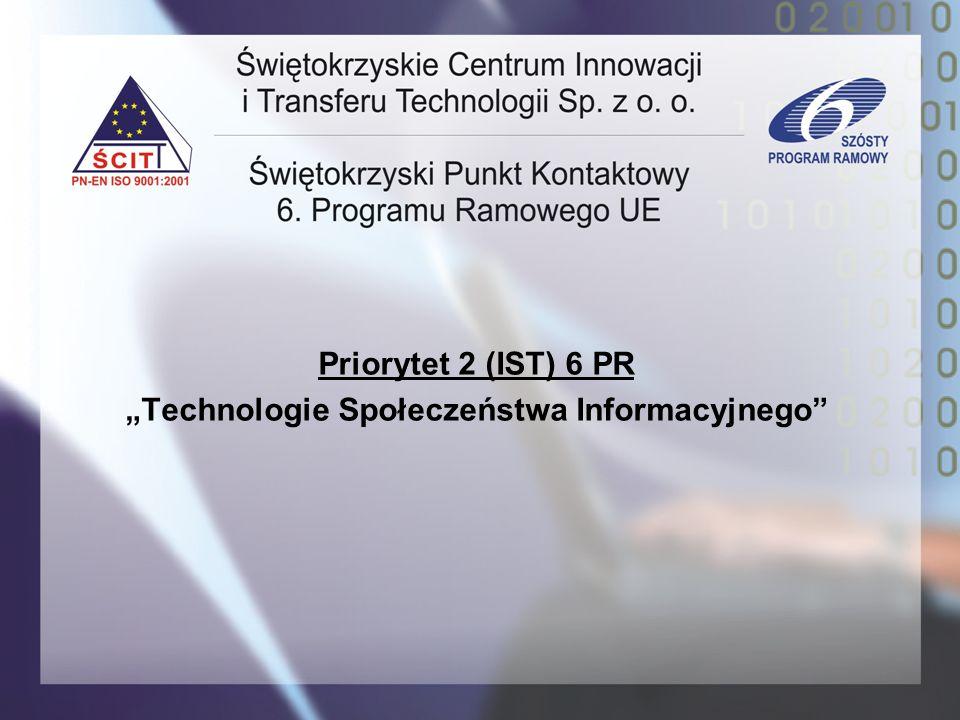 Priorytet 2 (IST) 6 PR Technologie Społeczeństwa Informacyjnego