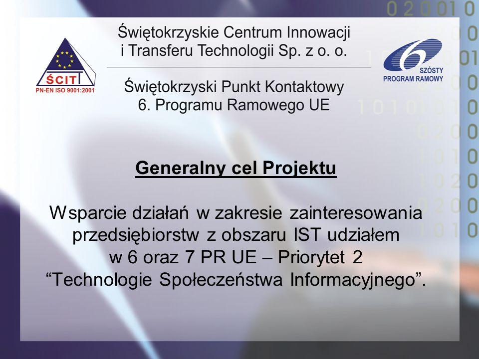 Generalny cel Projektu Wsparcie działań w zakresie zainteresowania przedsiębiorstw z obszaru IST udziałem w 6 oraz 7 PR UE – Priorytet 2 Technologie S