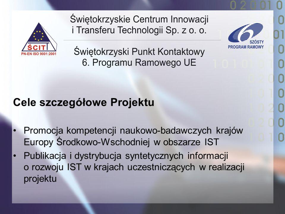 Cele szczegółowe Projektu Promocja kompetencji naukowo-badawczych krajów Europy Środkowo-Wschodniej w obszarze IST Publikacja i dystrybucja syntetyczn