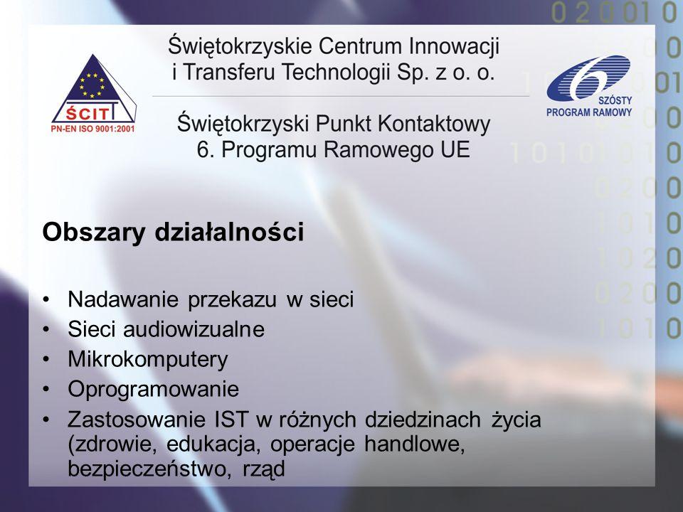 Obszary działalności Nadawanie przekazu w sieci Sieci audiowizualne Mikrokomputery Oprogramowanie Zastosowanie IST w różnych dziedzinach życia (zdrowi