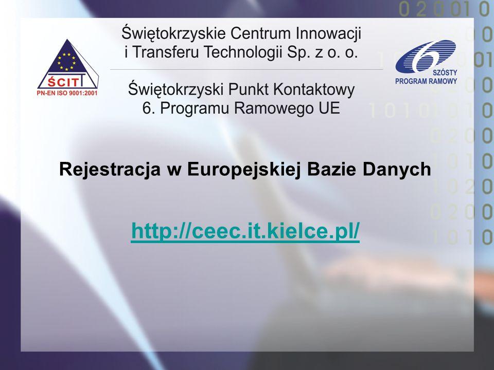 Rejestracja w Europejskiej Bazie Danych http://ceec.it.kielce.pl/