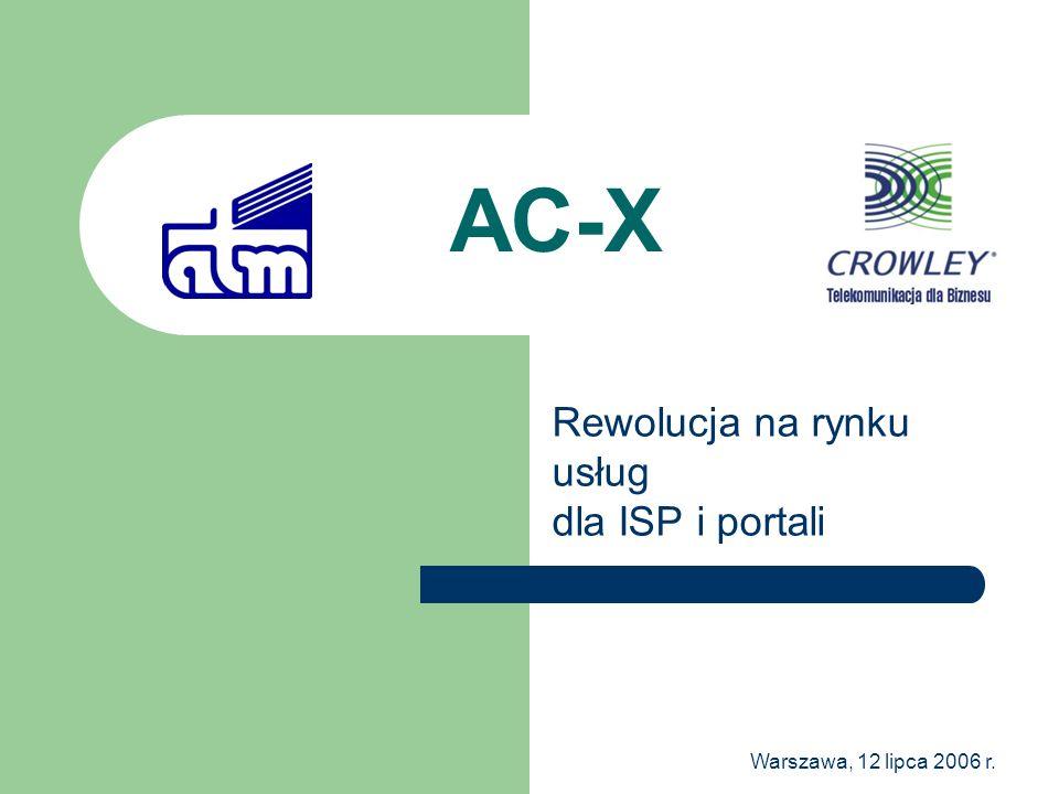 Warszawa, 12 lipca 2006 r. AC-X Rewolucja na rynku usług dla ISP i portali