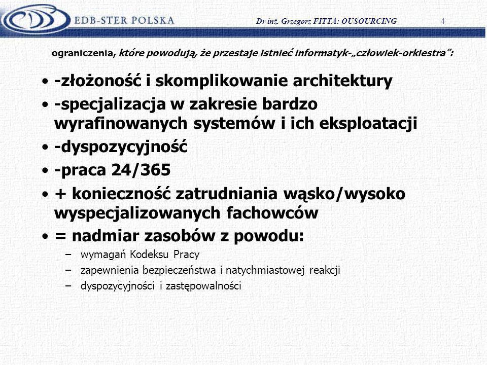 Dr inż. Grzegorz FITTA: OUSOURCING4 ograniczenia, które powodują, że przestaje istnieć informatyk-człowiek-orkiestra: -złożoność i skomplikowanie arch