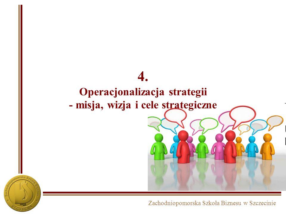 Zachodniopomorska Szkoła Biznesu w Szczecinie Proces budowy strategii w podejściu zasobowym INWENTARYZACJA STRATEGICZNA – diagnoza i priorytety MISJAW