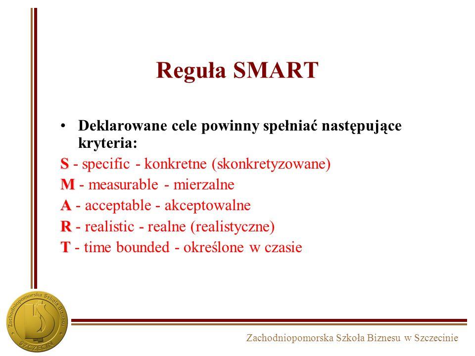 Zachodniopomorska Szkoła Biznesu w Szczecinie Systemowe formułowanie celów strategicznych w firmie SUKCES P R Z E T R W A N I E CELE ILOŚCIOWE CELE EK
