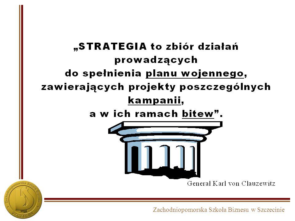 Zachodniopomorska Szkoła Biznesu w Szczecinie Proces budowy strategii w podejściu zasobowym INWENTARYZACJA STRATEGICZNA – diagnoza i priorytety MISJAWIZJACELE WYBÓR STRATEGICZNY REALIZACJA MONITORING I KOREKTA