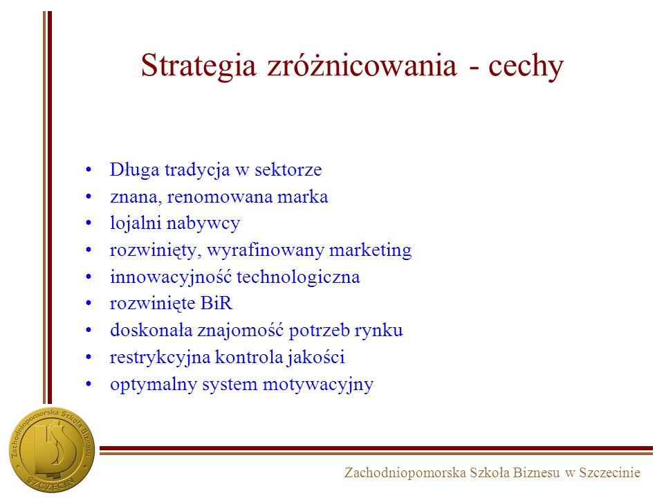 Zachodniopomorska Szkoła Biznesu w Szczecinie Strategia lidera cenowego - cechy duży udział w rynku duże potrzeby inwestycyjne dostęp do kapitału rozw