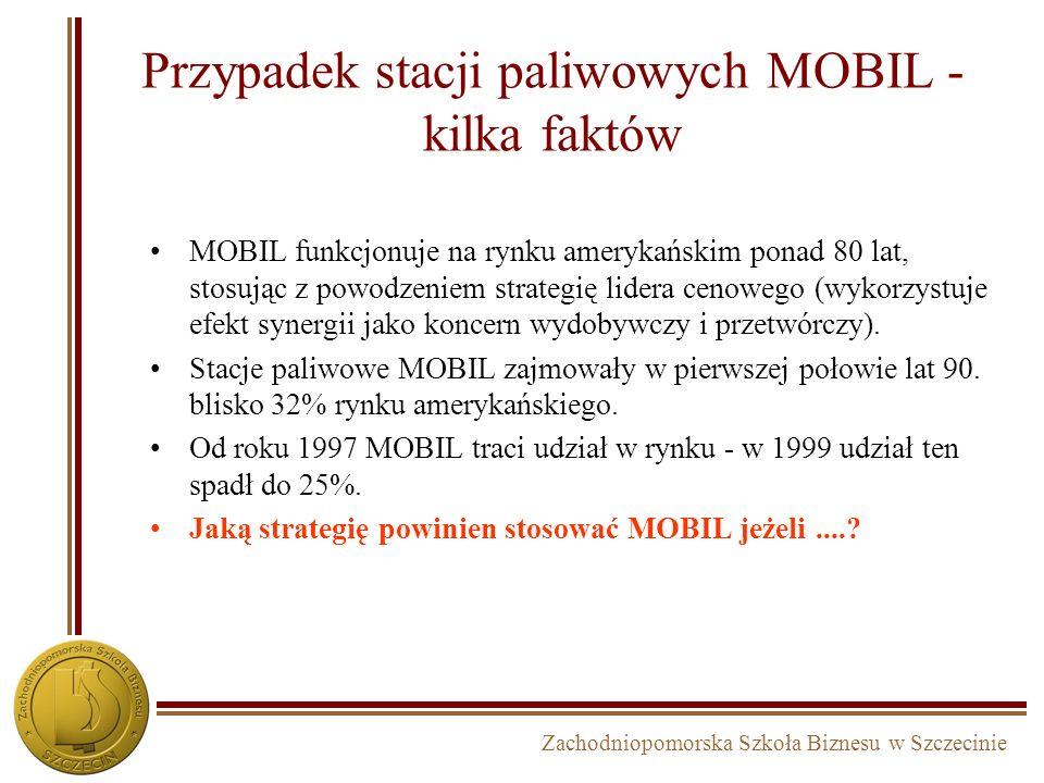 Zachodniopomorska Szkoła Biznesu w Szczecinie Przypadek orientacji strategicznej koncernu MOBIL MOBIL wydobycieprzetwórstwodystrybucja Sieć stacji pal