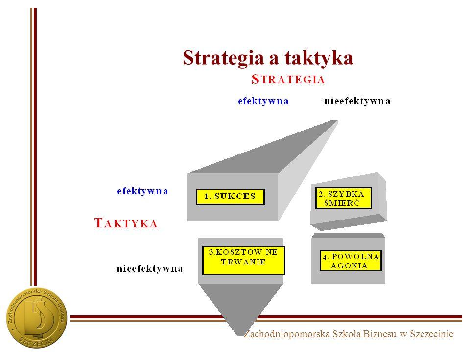 Zachodniopomorska Szkoła Biznesu w Szczecinie Kryteria weryfikacji opcji strategicznych Kryteria weryfikacjiopis Efektywność ekonomiczna Czy dana opcja strategiczna będzie efektywna ekonomicznie (zyskowność, płynność finansowa, okres zwrotu kapitału, itp.) Feasibility Czy dana opcja strategiczna jest wykonalna, czy istnieją przeszkody natury prawnej, administracyjnej, technicznej, technologicznej, itp..