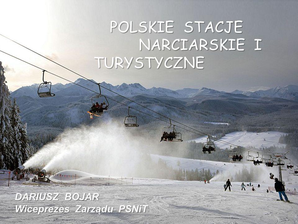 POLSKIE STACJE POLSKIE STACJE NARCIARSKIE I TURYSTYCZNE NARCIARSKIE I TURYSTYCZNE DARIUSZ BOJAR Wiceprezes Zarządu PSNiT