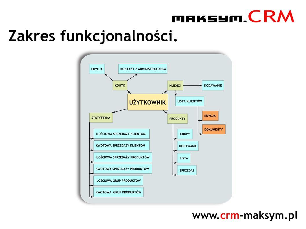 www.crm-maksym.pl Zakres funkcjonalności.