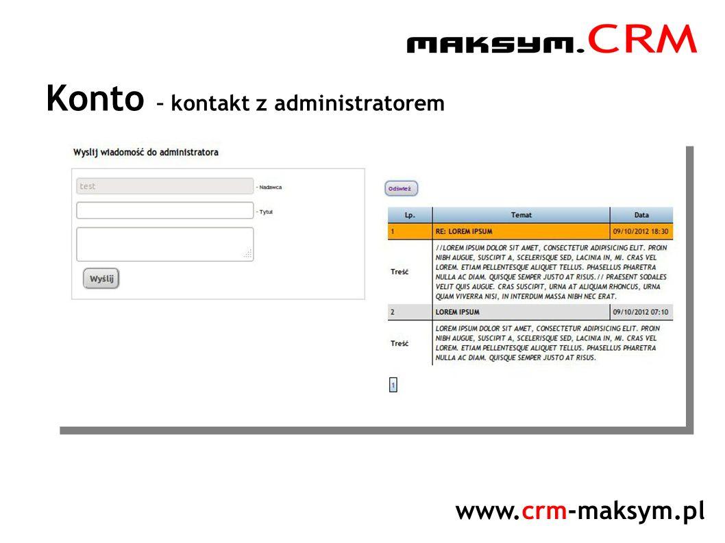www.crm-maksym.pl Konto – kontakt z administratorem