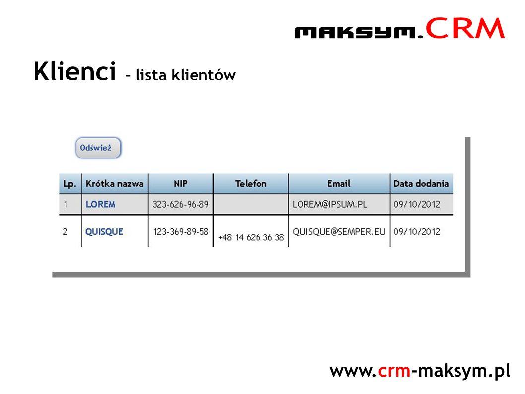 www.crm-maksym.pl Klienci – lista klientów
