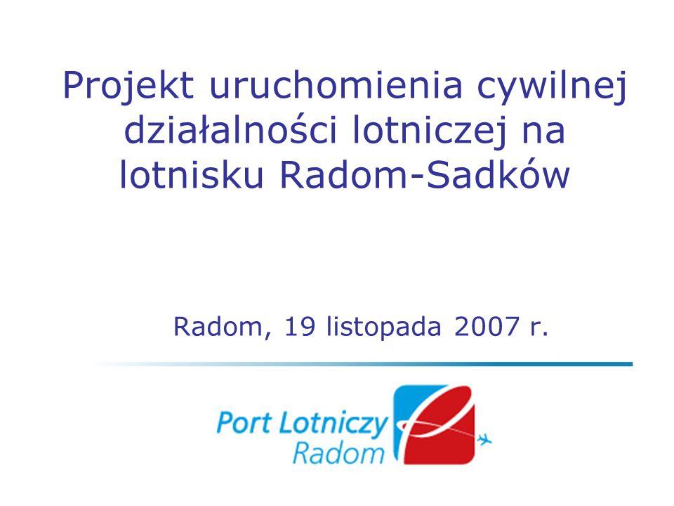 Projekt uruchomienia cywilnej działalności lotniczej na lotnisku Radom-Sadków Radom, 19 listopada 2007 r.