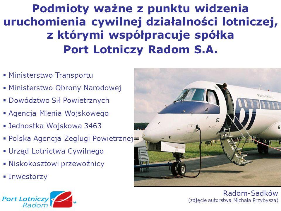 Radom-Sadków (zdjęcie autorstwa Tomasza Kozakowskiego) Działania konieczne do zrealizowania dla uruchomienia cywilnej działalności lotniczej Umowa operacyjna z JW 3463 (JW 3463,DSP) Umowa dzierżawy z AMW (AMW, JW 3463, DSP, MON) Zabezpieczenie finansowania Inwestycje Wpisanie lotniska do rejestru lotnisk cywilnych (ULC) Wyznaczenie lotniska Radom jako lotniska międzynarodowego i ustanowienie lotniczego przejścia granicznego RP (Prezes Rady Ministrów) Przeprowadzenie certyfikacji lotniska (ULC) Zezwolenie na wykonywanie działalności gospodarczej na lotnisku użytku publicznego w zakresie zarządzania lotniskiem (ULC) Uruchomienie połączeń (linie lotnicze)