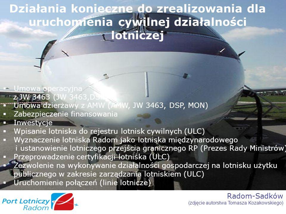 Radom-Sadków (zdjęcie autorstwa Tomasza Kozakowskiego) Działania konieczne do zrealizowania dla uruchomienia cywilnej działalności lotniczej Umowa ope