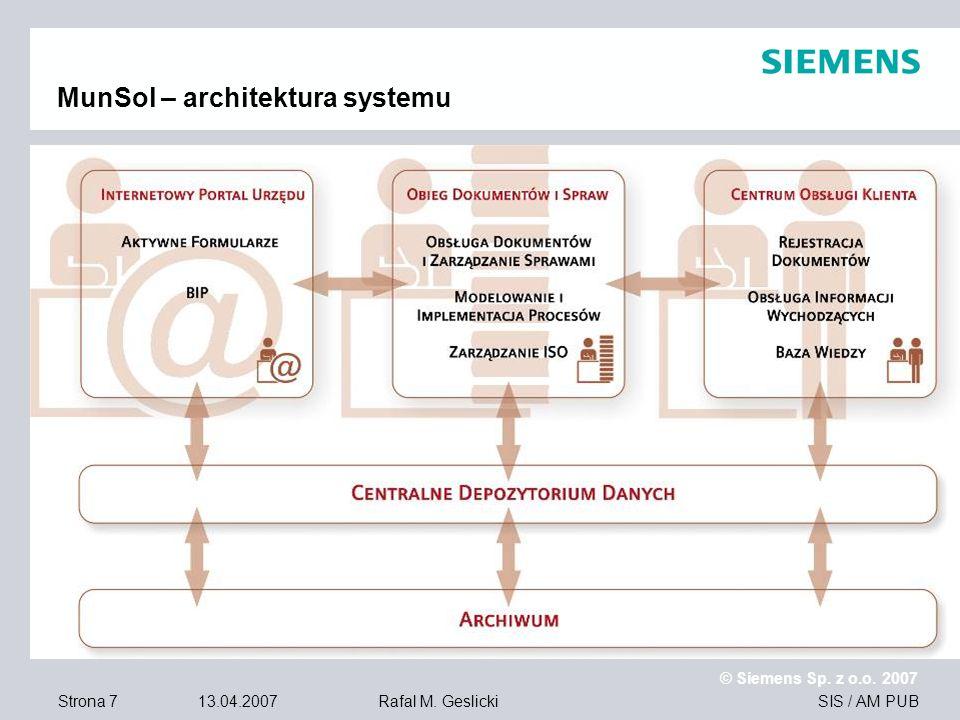 Strona 7 13.04.2007 © Siemens Sp. z o.o. 2007 SIS / AM PUBRafal M. Geslicki MunSol – architektura systemu