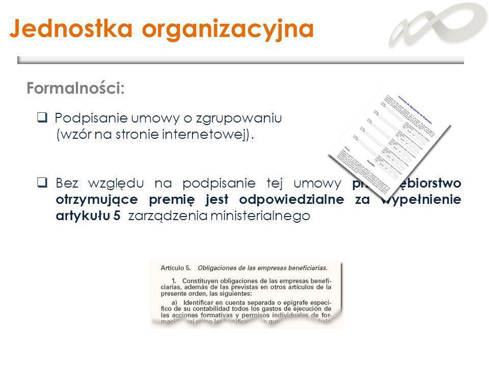 Podpisanie umowy o zgrupowaniu (wzór na stronie internetowej). Bez względu na podpisanie tej umowy przedsiębiorstwo otrzymujące premię jest odpowiedzi