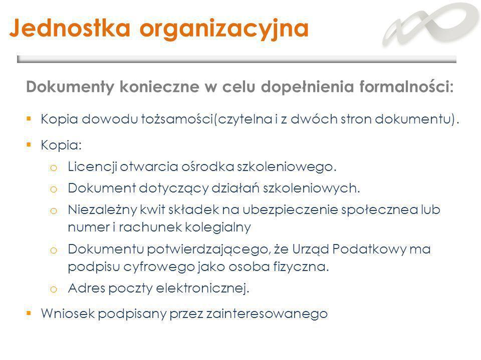 Jednostka organizacyjna Kopia dowodu tożsamości(czytelna i z dwóch stron dokumentu). Kopia: o Licencji otwarcia ośrodka szkoleniowego. o Dokument doty