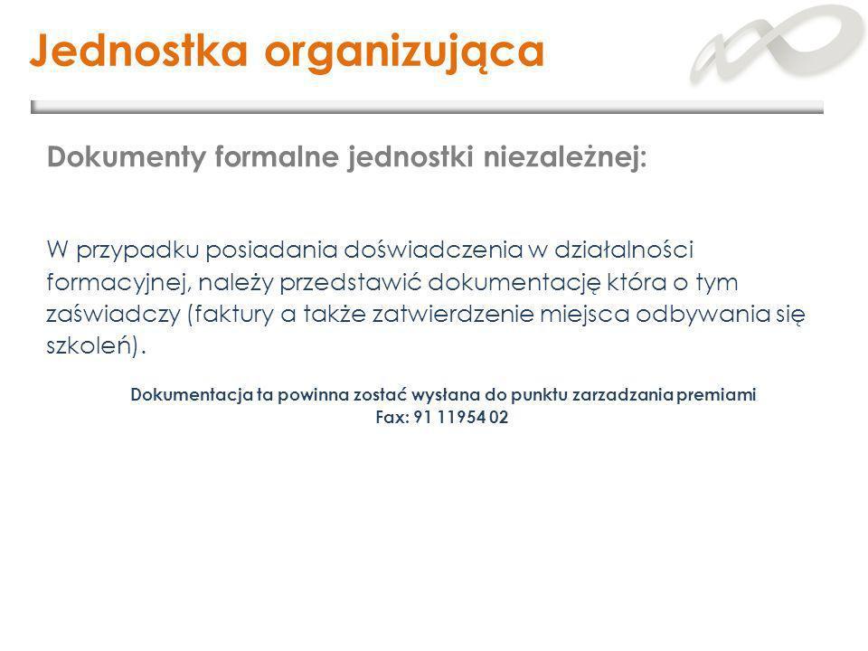 Jednostka organizująca W przypadku posiadania doświadczenia w działalności formacyjnej, należy przedstawić dokumentację która o tym zaświadczy (faktur